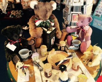 Teddy Bears Tea Party Display - teddies are enjoying some Burns poetry, and some nice jams!